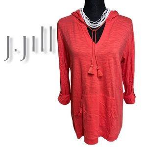 J.Jill tab-sleeve knit hoodie